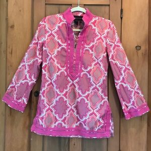 Dana Buchman pink long sleeve tunic top. S